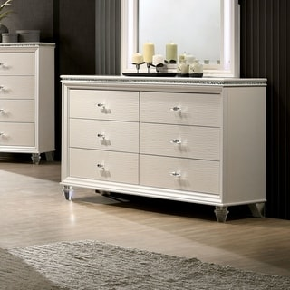 Silver Orchid Allenby Transitional Pearl White 6-drawer Dresser