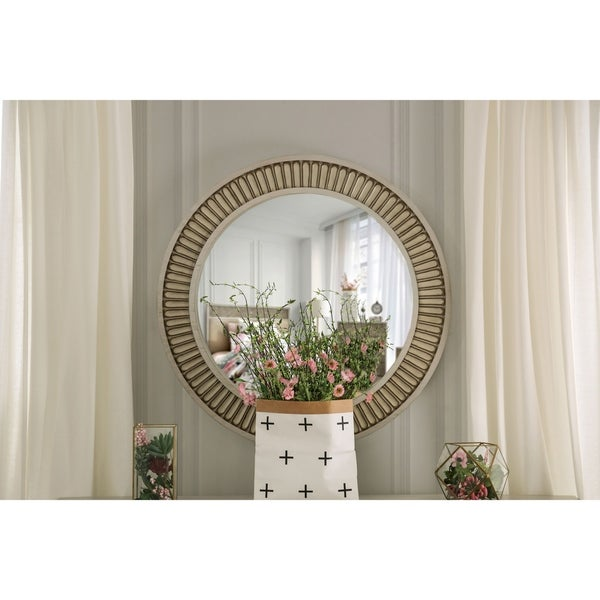 The Curated Nomad Cadogen 38-inch Round Antique White Mirror