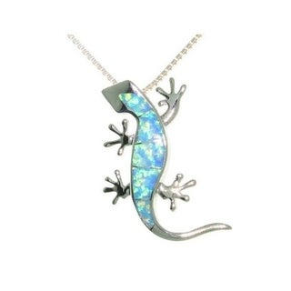 Carolina Glamour Collection Sterling Silver Created Opal Gecko Necklace