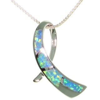 Carolina Glamour Collection Sterling Silver Created Opal Ribbon Necklace
