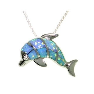 Carolina Glamour Collection Sterling Silver Created Opal Dolphin Necklace
