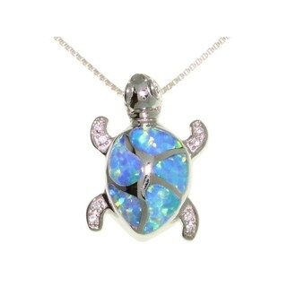 Carolina Glamour Collection Sterling Silver Opal Cubic Zirconia Turtle Necklace