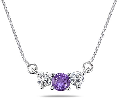 Marquee Jewels 14k Gold Amethyst 1/4ct TDW Diamond Necklace