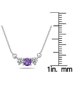 Marquee Jewels 14k Gold Amethyst 1/4ct TDW Diamond Necklace - Thumbnail 2