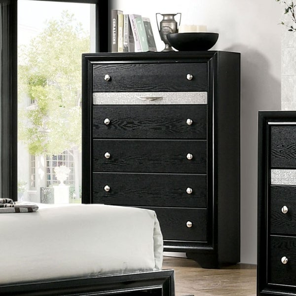 Silver Orchid Aoki Contemporary Black 6-drawer Chest
