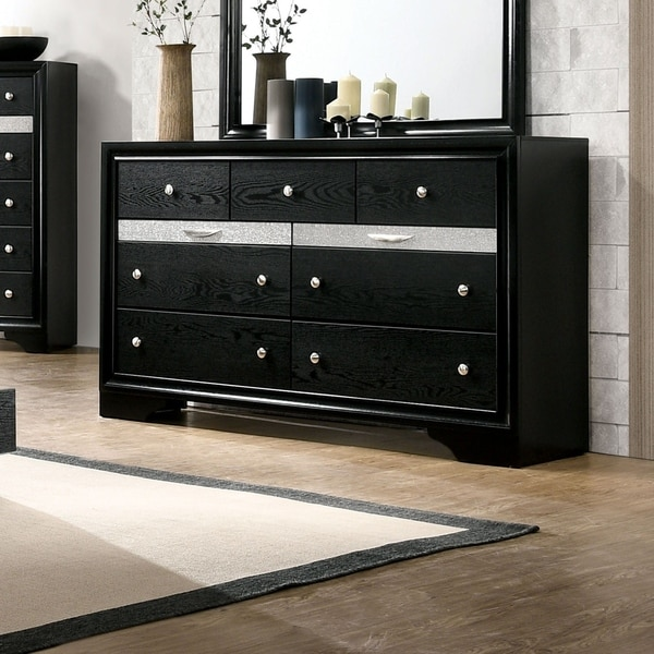 Silver Orchid Aoki Contemporary Black 9-drawer Dresser