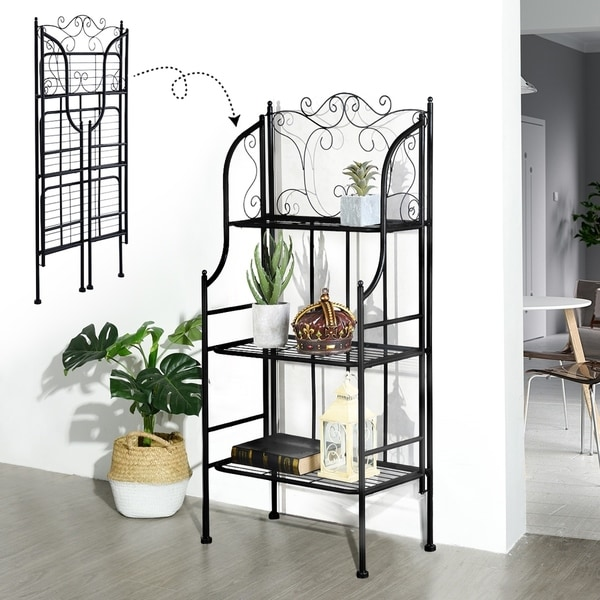 Furniture R Foldable Bakers Rack Metal Kinchen Garden Shelf