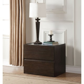Contemporary style Wooden Nightstand with 2 Drawers, Brown and Gray
