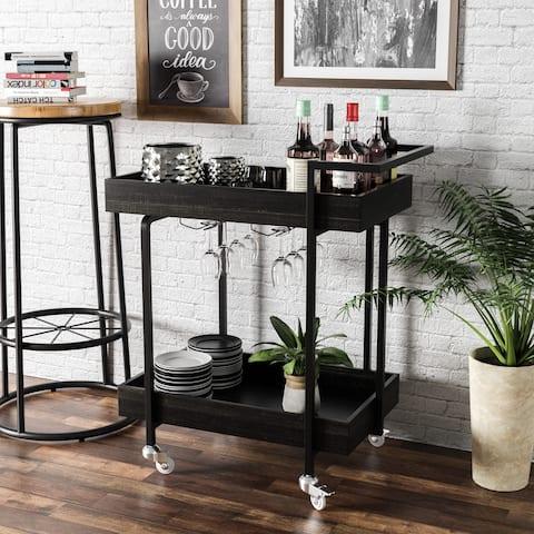 Carbon Loft Saghir Rustic Black Serving Cart