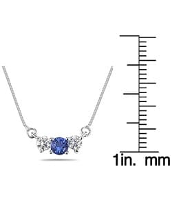 Marquee Jewels 14k Gold Blue Sapphire and 1/4ct Diamond Necklace - Thumbnail 2
