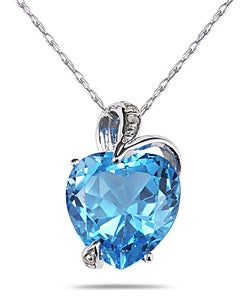 Marquee Jewels 14k Gold Blue Topaz Diamond Accent Heart Necklace