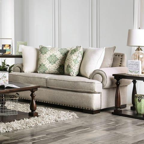 Furniture of America Bilhorod Traditional Brown Loveseat