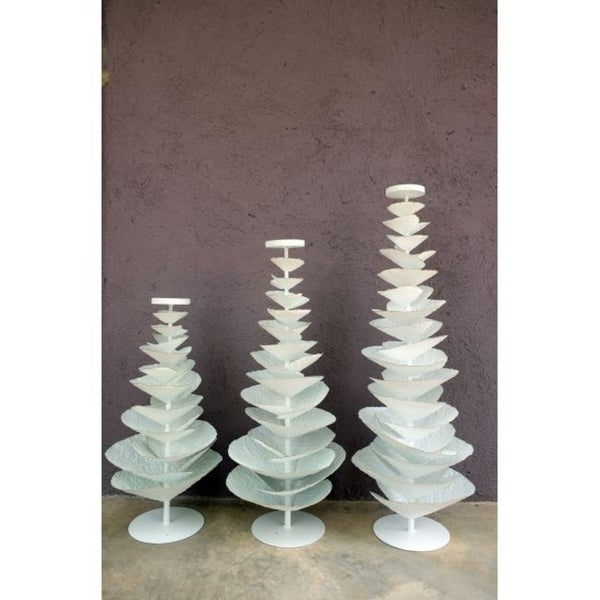 """Handmade 31.5"""" Lily's Living White Iron Tree Candle Holder"""