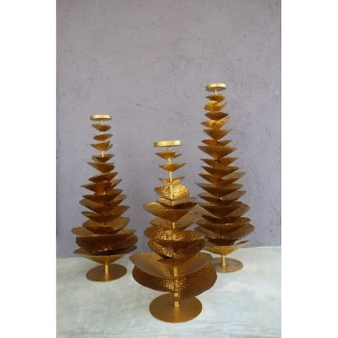 "Handmade 31.5"" Lily's Living Gold Iron Tree Candle Holder"
