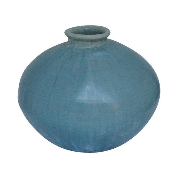 Lily's Living Green Vintage Style Flat Round Vase, 12 Inch Tall
