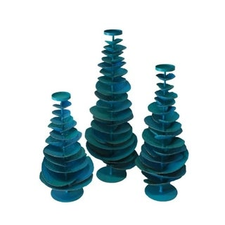"""Handmade 37.5"""" Lily's Living Turquoise Iron Tree Candle Holder"""