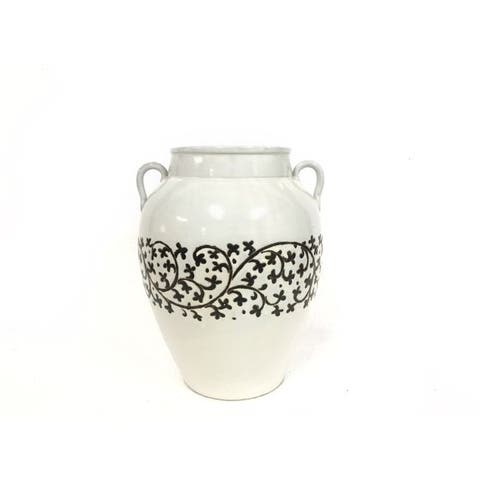 Lily's Living Hand Painted Leaf Scroll White/Black Medium Vase With two Handles, 18 Inch Tall