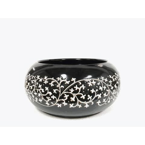 Lily's Living Hand Painted Black and White Large Floral Bowl, 7,5 Inch Tall