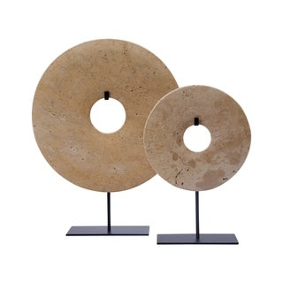 Lily's Living Medium Tan Jade Disk Statue Décor With Base, 16 Inch Tall