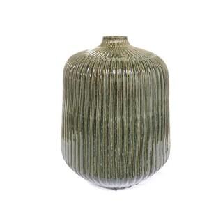 "Handmade 20"" Lily's Living Rustic Green Grooving Vase"