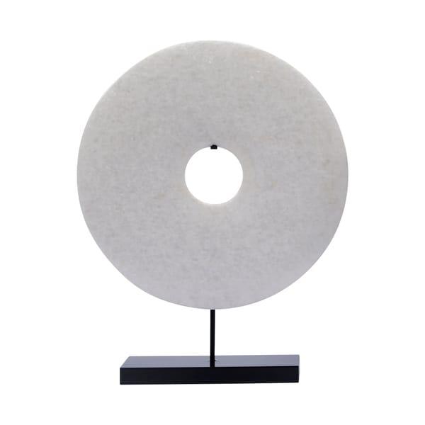 "Handmade 20"" Lily's Living White Jade Disk Statue"