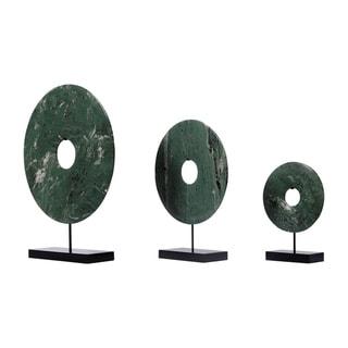 "Handmade 20"" Lily's Living Green Jade Disk Statue"
