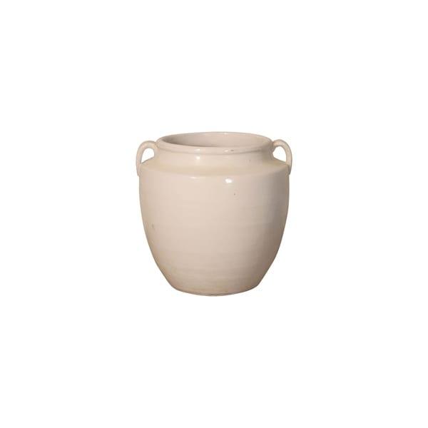 "Handmade 10"" Lily's Living Creamy White Pot"