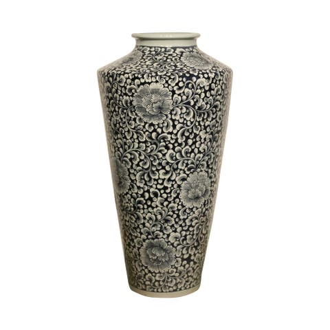 Lily's Living Hand Painted Celadon Large Kha Lhong Vase, 30 Inch Tall