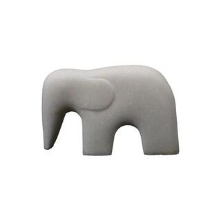 "Handmade 5.5"" Lily's Living White Marble Elephant Dcor"