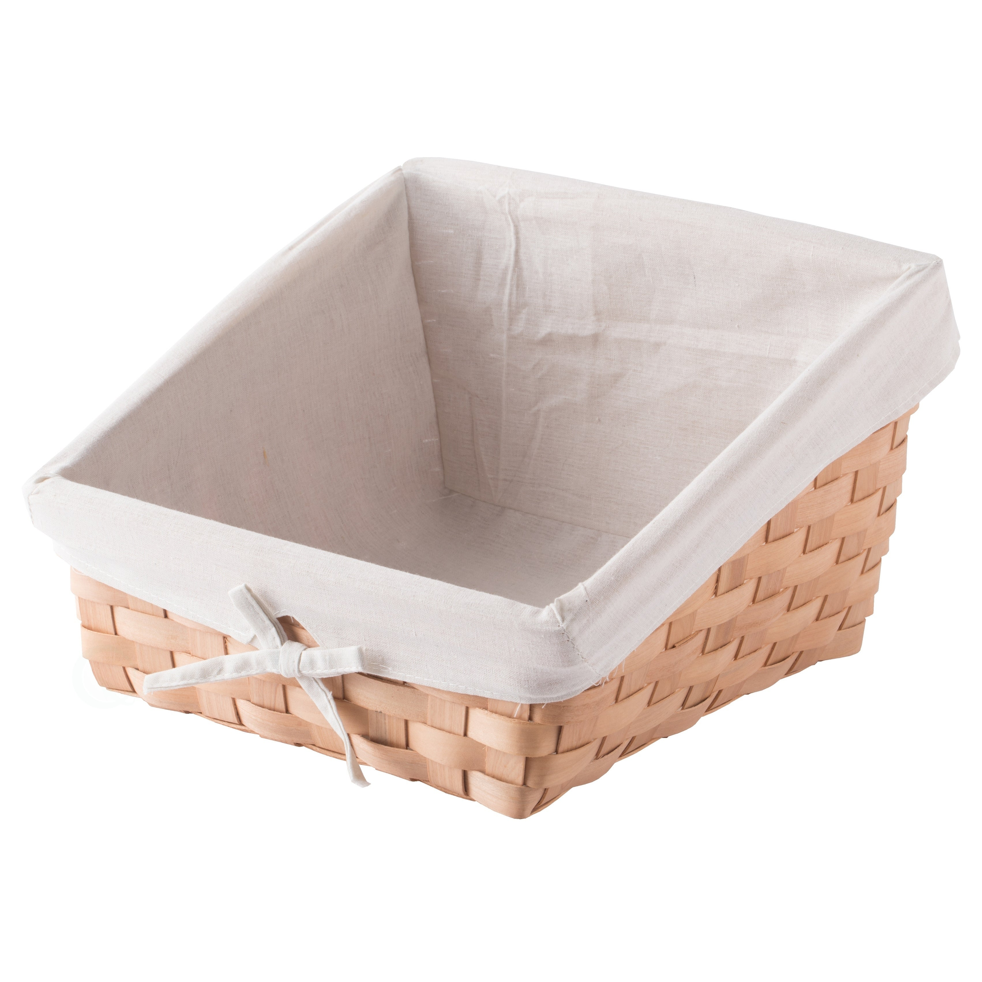 Vintiquewise Rectangular Willow Basket with White Fabric Lining