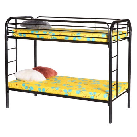 Twin Over Twin Metal Bunk-bed with Double Ladder
