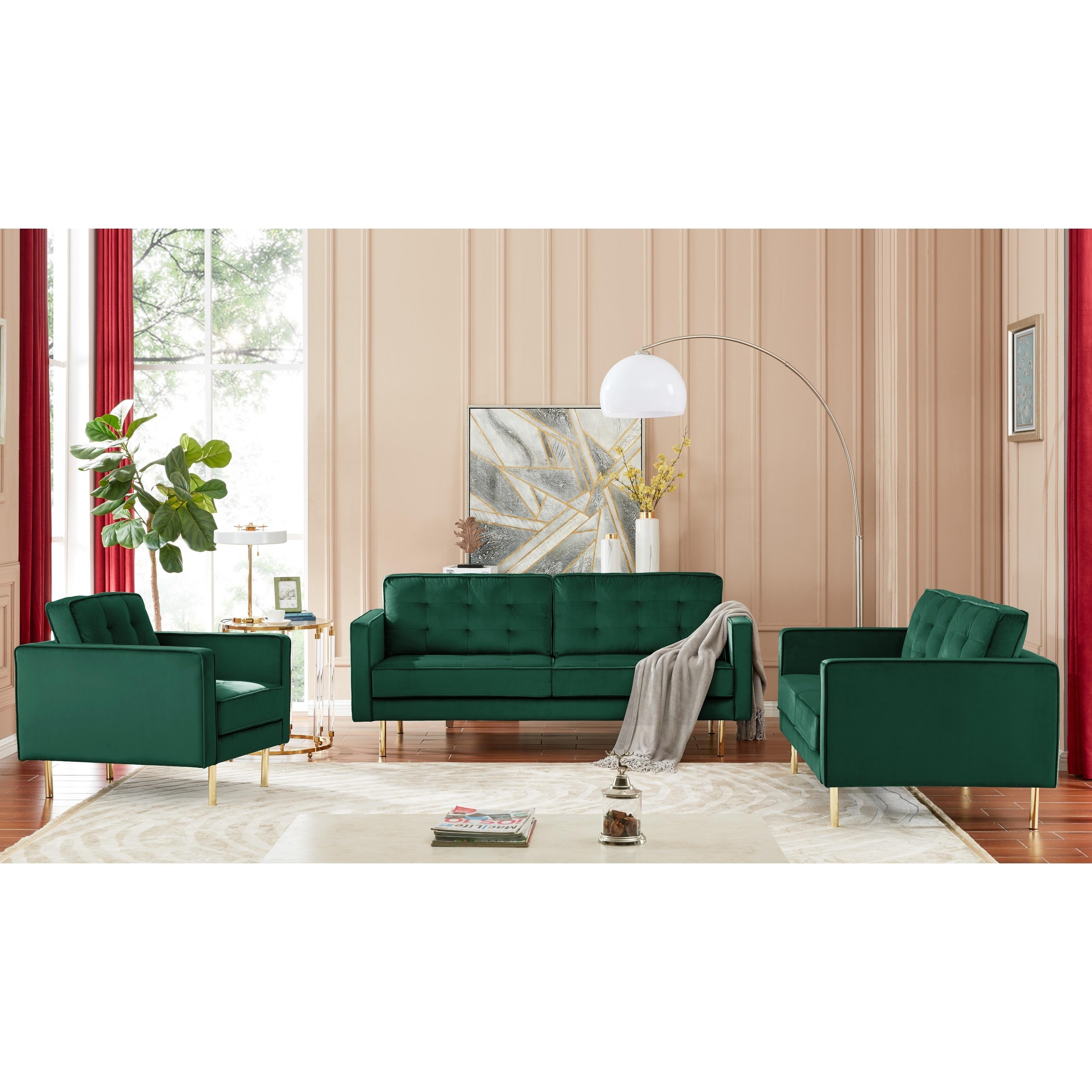 Green Teal Modern Velvet Tufted Sofa With Gold Legs Overstock 28979096 Medium