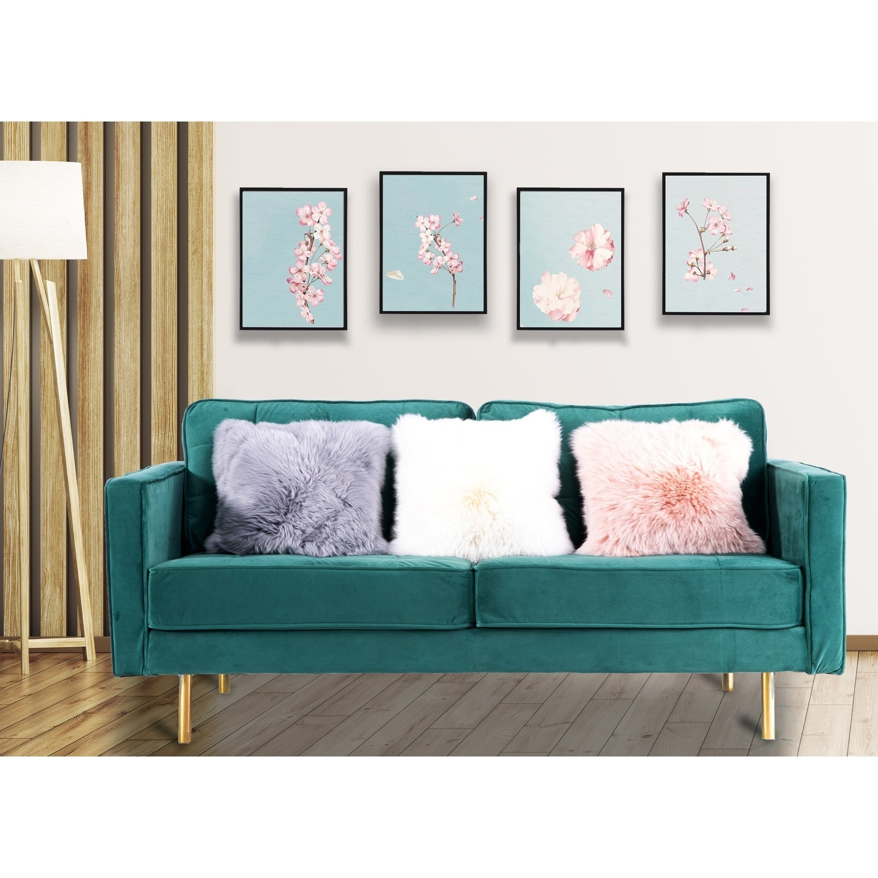 Picture of: Green Teal Modern Velvet Tufted Sofa With Gold Legs Overstock 28979096 Medium