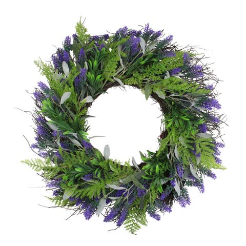 Lavender and Leaves Artificial Spring Wreath Purple and Green 24-Inch