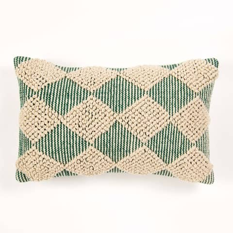 The Curated Nomad Quane Handwoven Hunter Green/ Ivory Accent Pillow