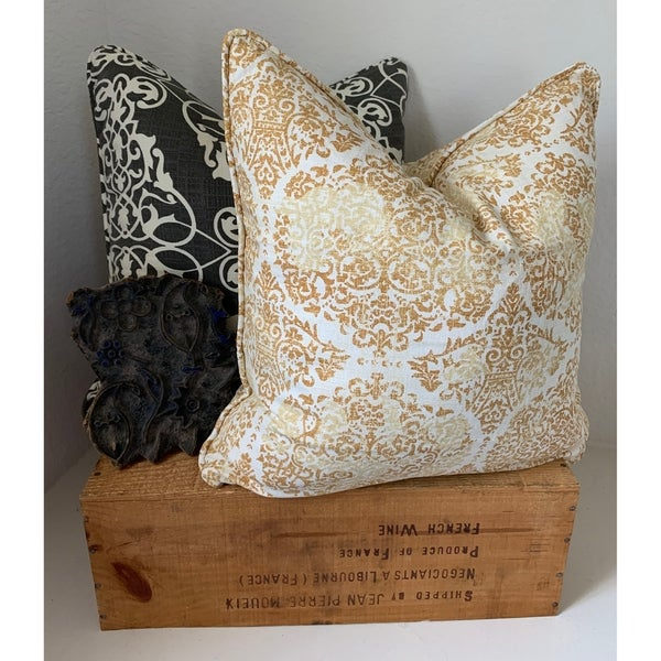 The Inspiring Home Distressed Damask Pillow. Opens flyout.
