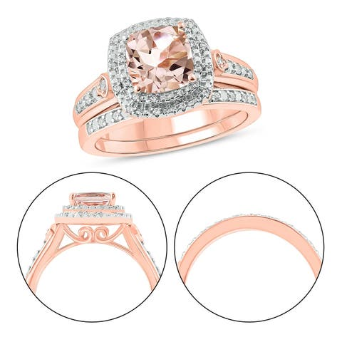 Cali Trove 925 Sterling Silver with Pink Plating in 1/6 ct TDW & Morganite fashion ring.
