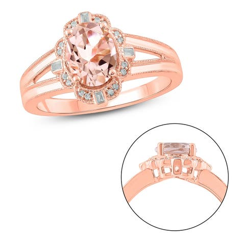 Cali Trove 925 Sterling Silver with Pink Plating in 1/15 ct TDW & Morganite fashion ring.
