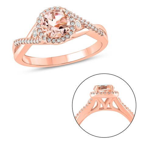 Cali Trove 10KT Pink Gold in 1/6 ct TDW & Morganite fashion ring.