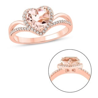 Cali Trove 10KT Pink Gold 1 6 Ct TDW Morganite Fashion Ring
