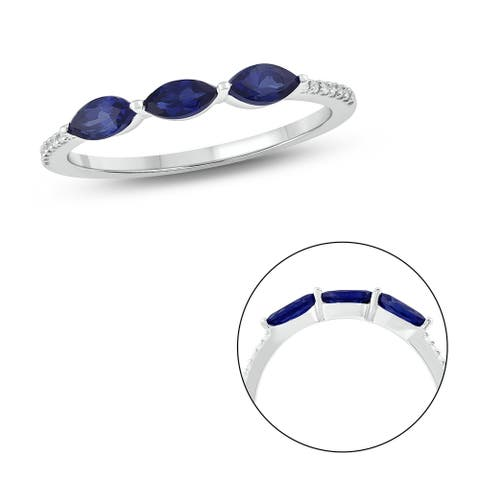 Cali Trove 10KT White Gold in 1/20 ct TDW & Blue Sapphire fashion ring.