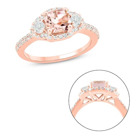 Cali Trove 10KT Pink Gold with 1/6 ct TDW & Morganite fashion ring.