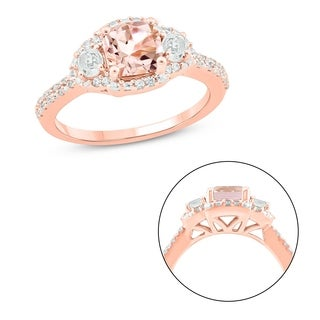 Cali Trove 10KT Pink Gold With 1 6 Ct TDW Morganite Fashion Ring