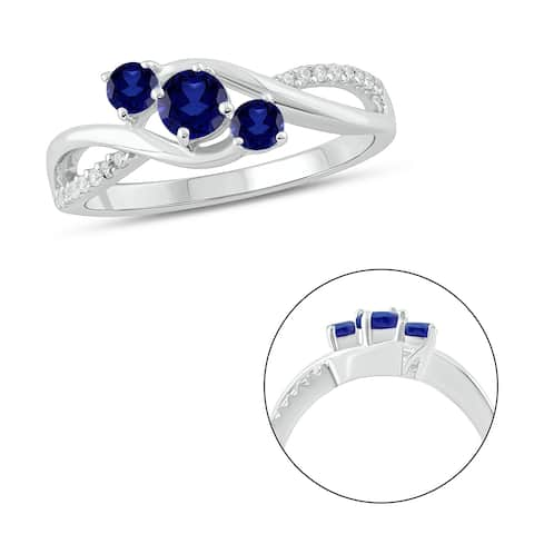Cali Trove 925 Sterling Silver in 1/15 ct TDW & Blue Sapphire fashion ring.