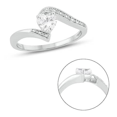Cali Trove 925 Sterling Silver in Diamond Accent & White Sapphire fashion ring.