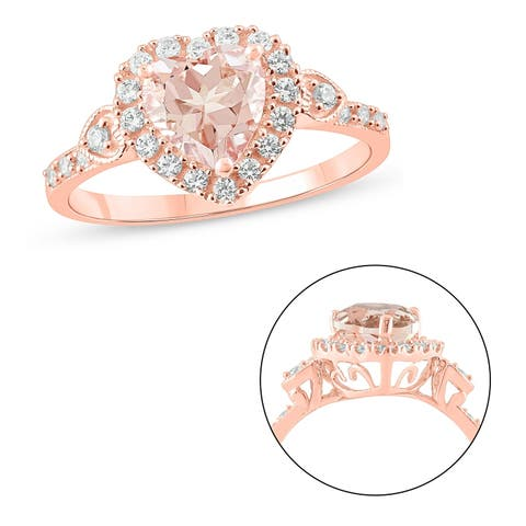 Cali Trove 10KT Pink Gold with 1/3 ct TDW & Morganite fashion ring.