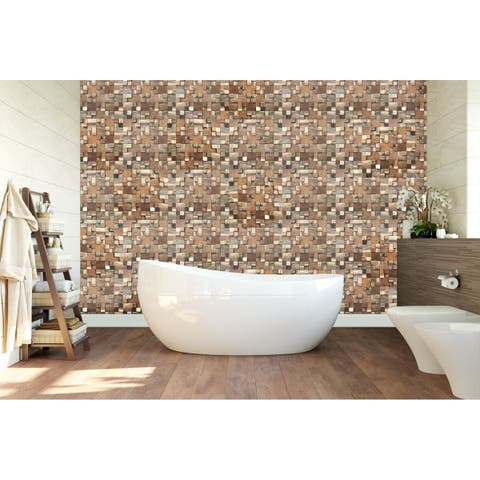 """11 7/8""""W x 11 7/8""""H x 1/2""""P Belmont Boat Wood Mosaic Wall Tile, Natural Finish"""