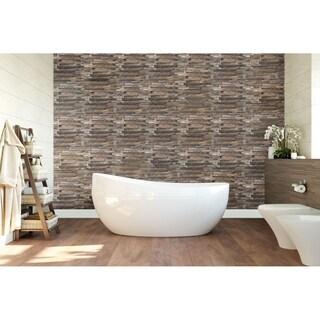 "11 7/8""W x 11 7/8""H x 1/2""P Interlocking Boat Wood Mosaic Wall Tile, Natural Finish"