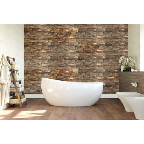 "23 3/4""W x 11 7/8""H x 3/4""P Shipboard Boat Wood Mosaic Wall Tile, Natural Finish"