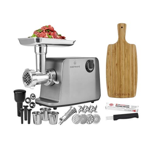 ChefWave 1800W Electric Meat Grinder Stainless Steel with Accessories